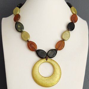 Green, orange and yellow circle pendant necklace